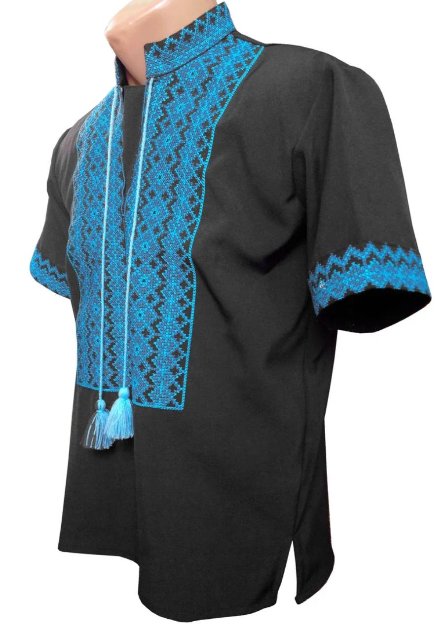 Черная Мужская Рубашка Вышиванка лето р. 44 - 60