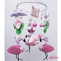 Мобиль из фетра ручной работы «Розовый фламинго»
