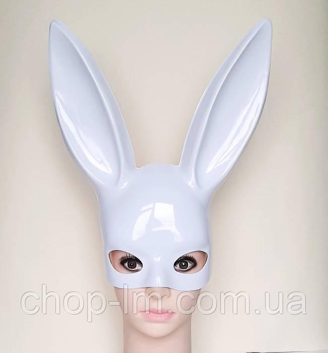 Маска Playboy, зайка глянцевая / маска кролика (белая)
