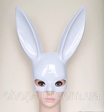 Маска Playboy, зайка глянцевая / маска кролика (белая), фото 2