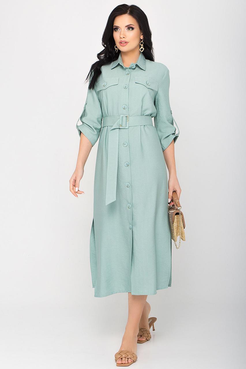 Стильне плаття-халат з жатого льону з кишенями і поясом, довжиною міді. Ментоловий колір