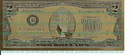 Золотая банкнота счастливые 2 доллара Лучший подарок!, фото 2