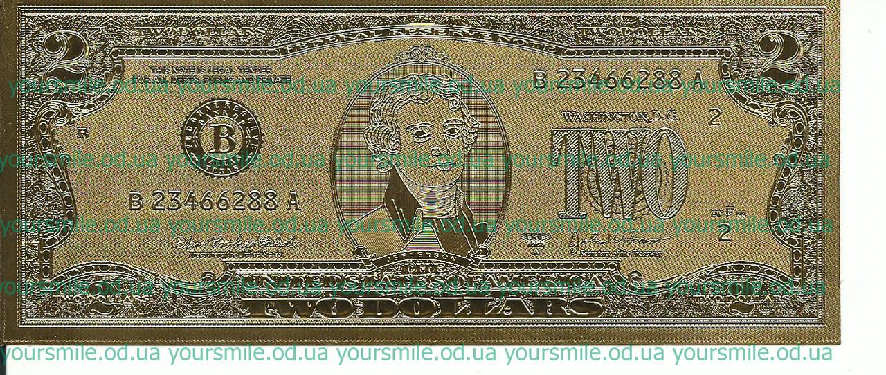 Золотая банкнота счастливые 2 доллара Лучший подарок!