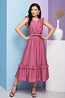 Легкое приталенное платье длиной миди, плательное, рукав-крылышко и пояс в комплекте. Розовое, фото 1