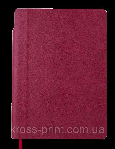 Блокнот ділової FRESH, А5, 96 л., точка, т.-червоний, позов.шкіра