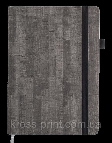 Блокнот ділової WOOD, А5, 96арк., клітка, сірий, позов. шкіра