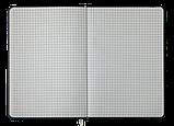 Блокнот ділової WOOD, А5, 96арк., клітка, сірий, позов. шкіра, фото 3