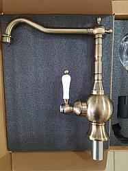 Смеситель для кухни Fabiano FKM-49 Brass-Antique (античная латунь) ретро дизайн