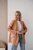 Жакет-пиджак женский без пуговицы стильного свободного кроя р-ры 42-44,46-48 арт 665