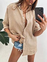 Жіноча лляна сорочка з довгим рукавом