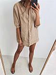 Жіноча лляна сорочка з довгим рукавом, фото 4