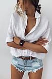 Жіноча лляна сорочка з довгим рукавом, фото 7