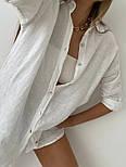 Жіноча лляна сорочка з довгим рукавом, фото 8