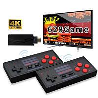 Игровая беспроводная 4К 8-ми битная приставка (консоль) + 628 встроенных игр (Марио, танчики) с HDMI