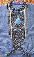 Вышиванка мужская джинс лён XL длинный рукав 42 ворот 070501