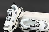 Жіночі кросівки Balenciaga Triple S в стилі Баленсіага Тріпл З багатошарова підошва БІЛІ (Репліка ААА+), фото 2