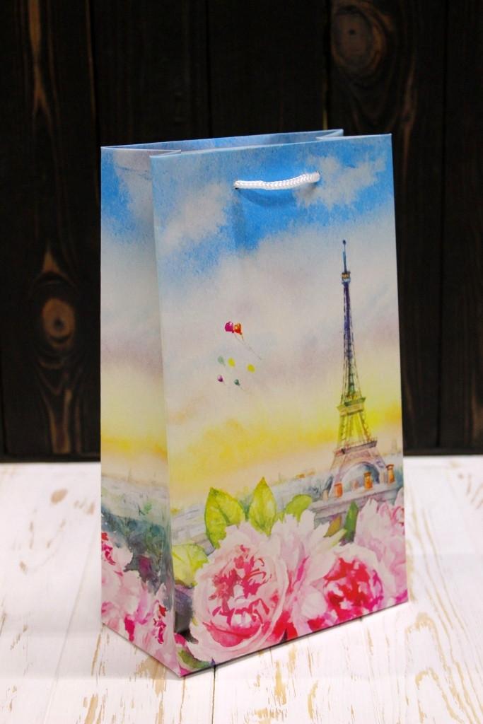 Подарунковий паперовий пакет Упаковкин 26*15,5*8см 12шт/уп №ПАК СР-1013КРТ