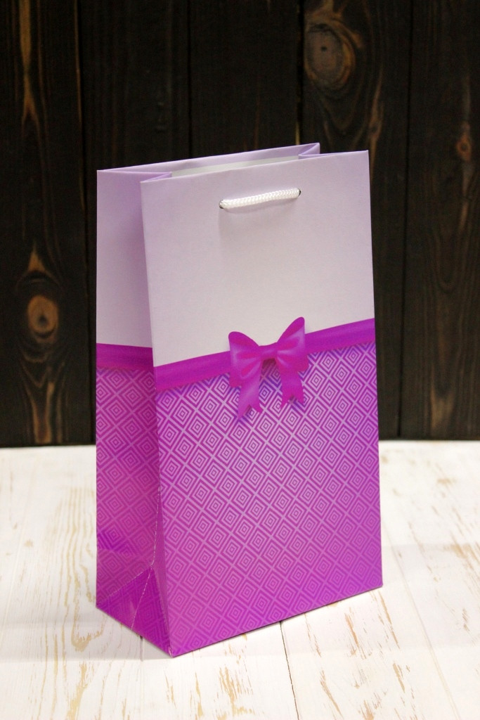 Подарунковий паперовий пакет Упаковкин 26*15,5*8см 12шт/уп №ПАК СР-1020КРТ