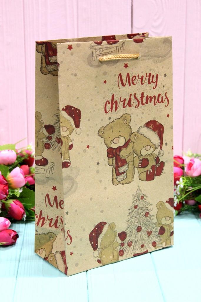 """Подарунковий паперовий крафт пакет """"Новорічний"""" Упаковкин 26*15,5*8см 12шт/уп №СР-533К"""