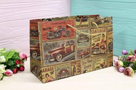 Бумажный подарочный крафт пакет Упаковкин 22,5*35*13,5см 12шт/уп №ПАК БГ-205, фото 2