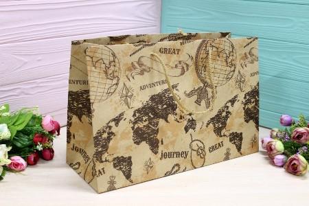 Подарунковий паперовий крафт пакет Упаковкин 22,5*35*13,5 см 12шт/уп №ПАК БГ-206