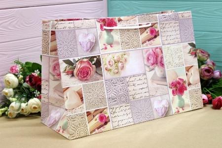 Подарунковий паперовий пакет Упаковкин 22,5*35*13,5 см 12шт/уп №ПАК БГ-113