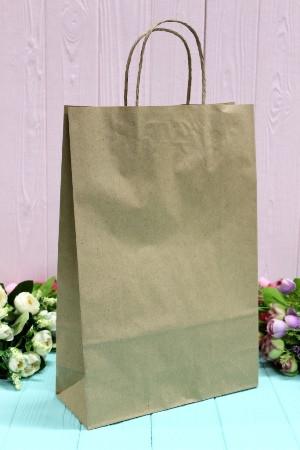 Подарунковий паперовий крафт пакет Упаковкин 24*37*10см 10шт/уп №ПАК-1001БР