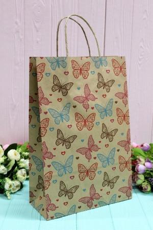 Бумажный подарочный крафт пакет Упаковкин 24*37*10см 10шт/уп №ПАК-1026БР