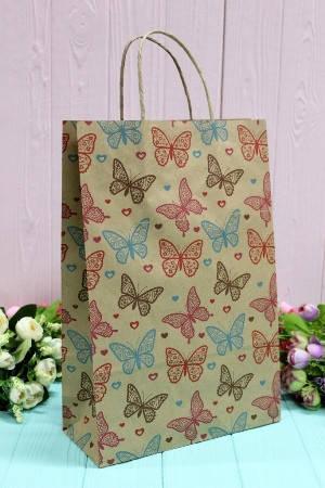 Бумажный подарочный крафт пакет Упаковкин 24*37*10см 10шт/уп №ПАК-1026БР, фото 2