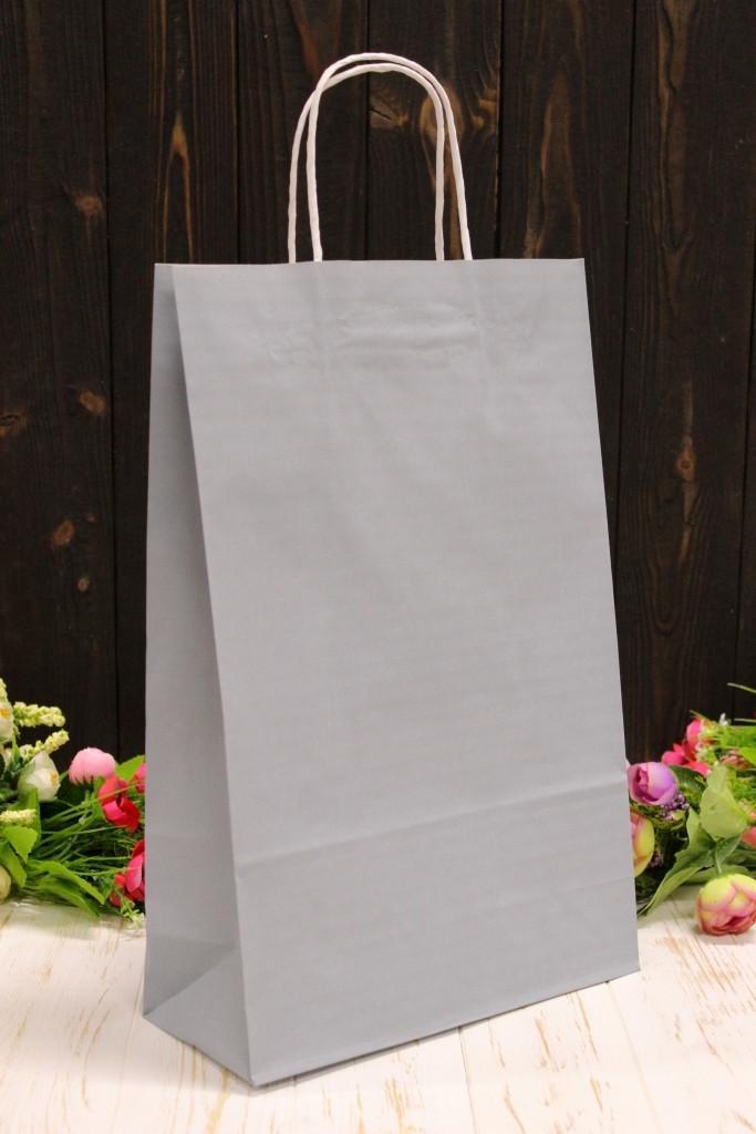 Подарунковий паперовий крафт пакет Упаковкин 24*37*10см 10шт/уп - Сірий