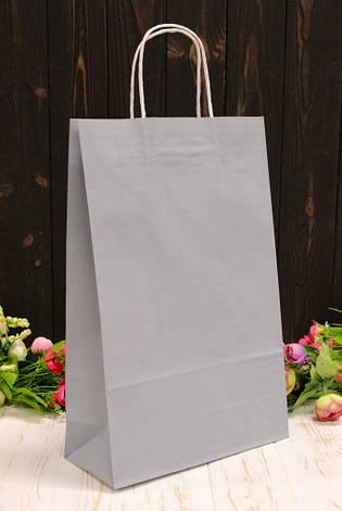 Подарунковий паперовий крафт пакет Упаковкин 24*37*10см 10шт/уп - Сірий, фото 2