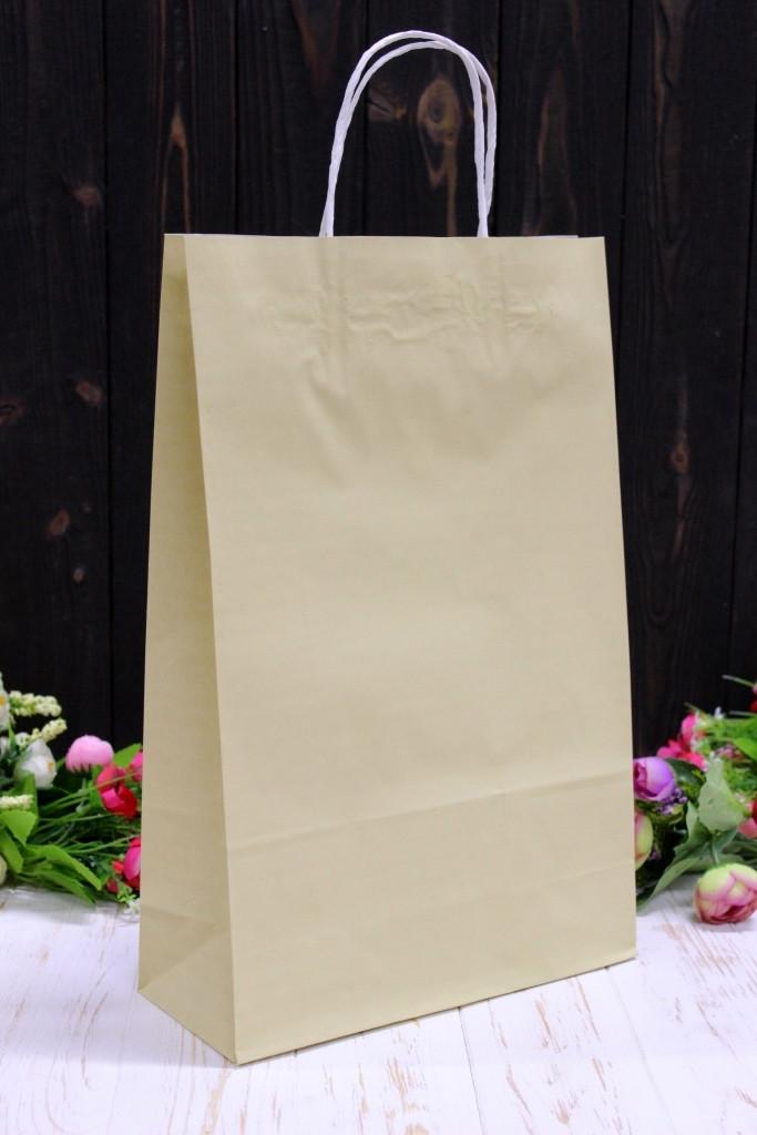 Бумажный подарочный крафт пакет Упаковкин 24*37*10см 10шт/уп - Айвори