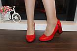 Туфли женские красные на каблуке Т1317, фото 5