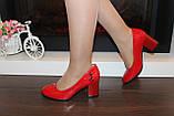 Туфли женские красные на каблуке Т1317, фото 6