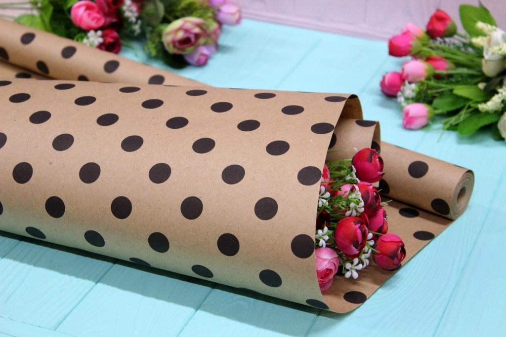Двостороння крафт папір для квітів і подарунків Упаковкин 65см*10м №1011БР 2-СТ