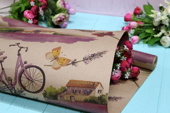 Двухсторонняя крафт бумага для цветов и подарков Упаковкин 70см*10м №1012БР 2-СТ, фото 2
