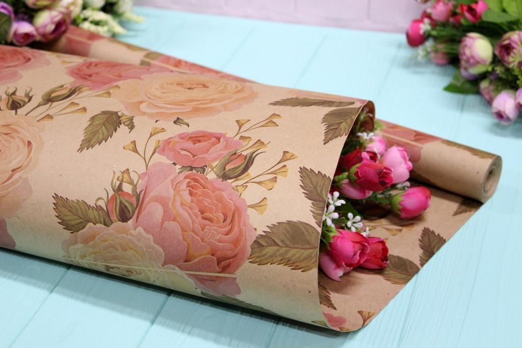 Двостороння крафт папір для квітів і подарунків Упаковкин 70см*10м №1008БР 2-СТ