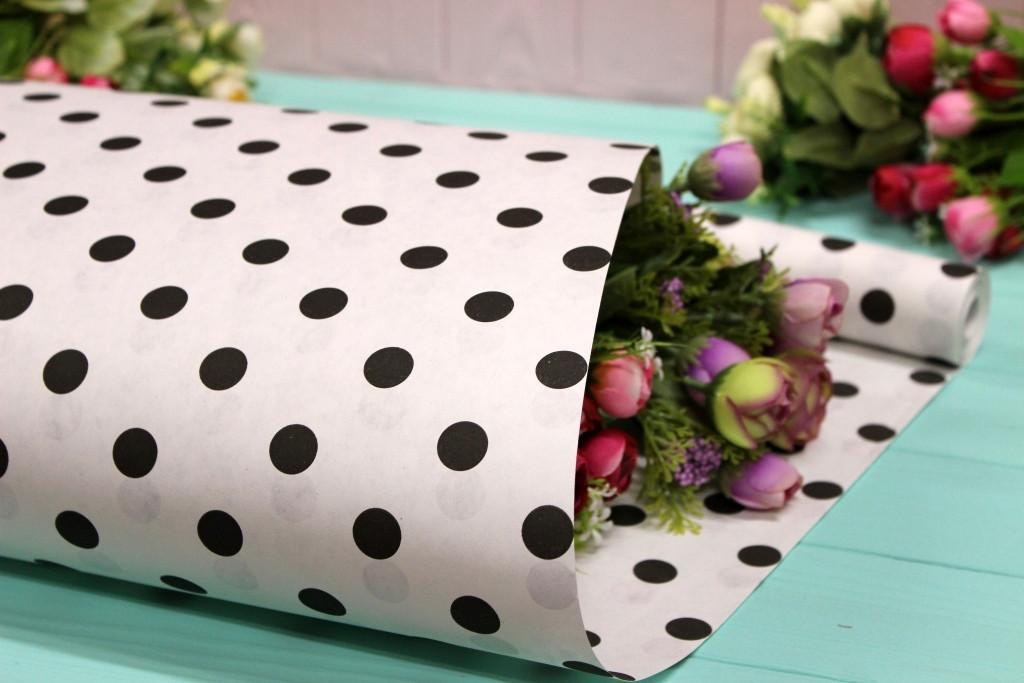 Двухсторонняя крафт бумага для цветов и подарков Упаковкин 70см*10м №1011БЛ 2-СТ