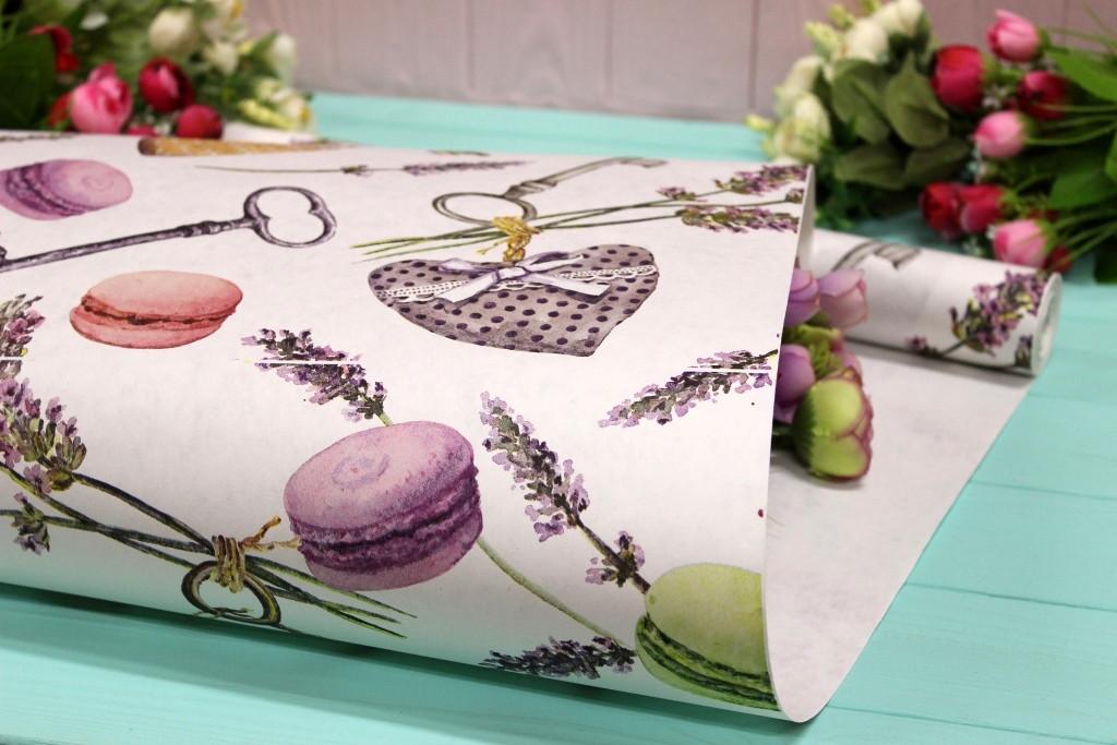 Односторонняя крафт бумага для цветов и подарков Упаковкин 70см*10м №1015БЛ 1-СТ