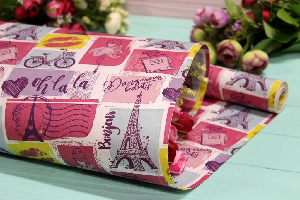 Двостороння крафт папір для квітів і подарунків Упаковкин 70см*10м №1005БЛ 2-СТ
