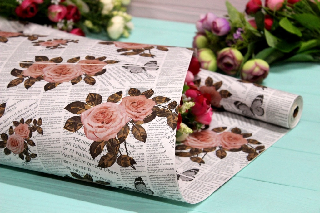 Двухсторонняя крафт бумага для цветов и подарков Упаковкин 70см*10м №1020БЛ 2-СТ