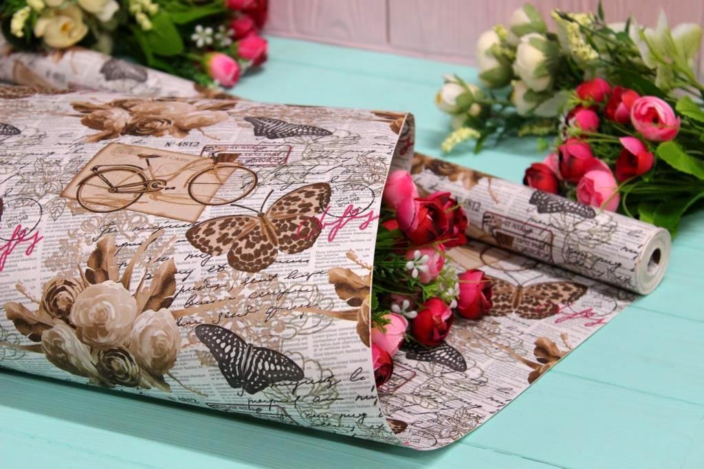 Двухсторонняя крафт бумага для цветов и подарков Упаковкин 70см*10м №1024БЛ 2-СТ