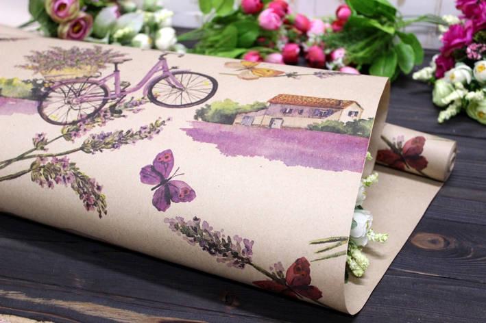 Одностороння крафт папір для квітів і подарунків Упаковкин 70см*10м №1012БР 1-СТ, фото 2