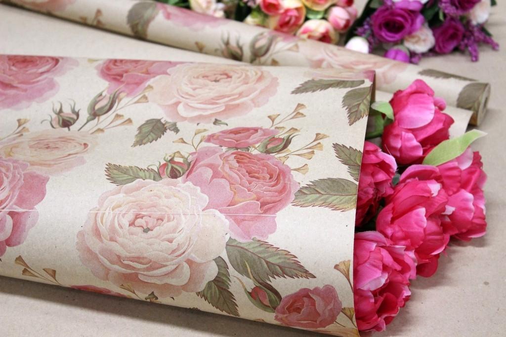 Одностороння крафт папір для квітів і подарунків Упаковкин 70см*10м №1008БР 1-СТ