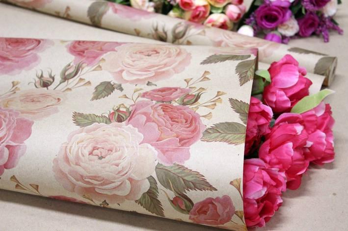 Одностороння крафт папір для квітів і подарунків Упаковкин 70см*10м №1008БР 1-СТ, фото 2