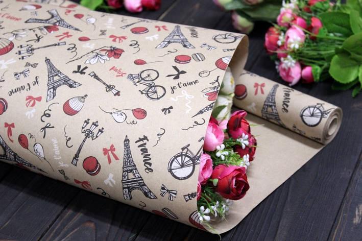 Односторонняя крафт бумага для цветов и подарков Упаковкин 70см*10м №1002БР 1-СТ, фото 2