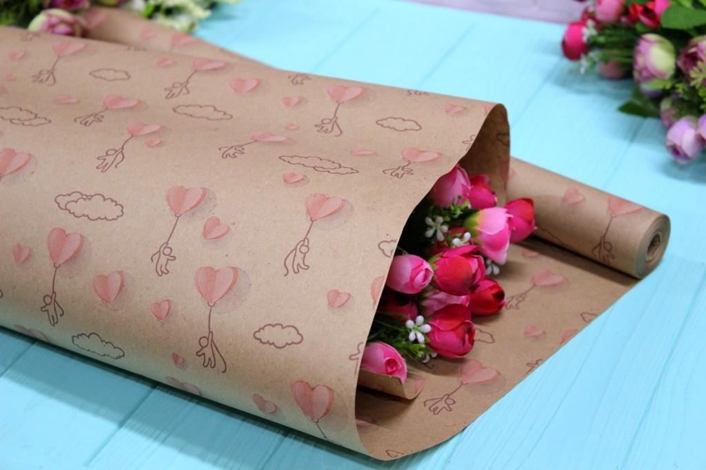 Одностороння крафт папір для квітів і подарунків Упаковкин 70см*10м №1006БР 1-СТ