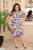 Принтована яскраве приталене плаття-халат на гудзиках з софта Розмір: 50-52, 54-56, 58-60 арт. 750