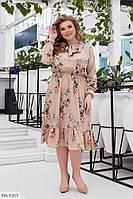 Женственное приталенное платье свободного кроя из софта с цветочным принтом р:48-50,52-54,56-58,60-62 арт. 662
