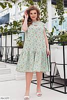 Женственное романтичное платье свободного кроя из софта с цветочным принтом р:48-50,52-54,56-58,60-62 арт. 674